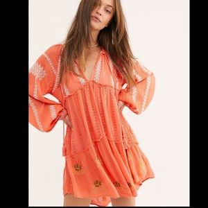 Free People Wild Horses Embroidered Mini Dress XS